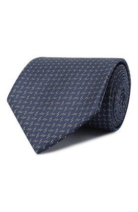 Мужской шелковый галстук BRIONI темно-синего цвета, арт. 062I00/09424 | Фото 1 (Материал: Шелк, Текстиль; Принт: С принтом)