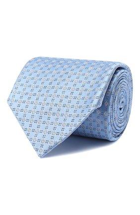 Мужской шелковый галстук BRIONI голубого цвета, арт. 062H00/09455 | Фото 1 (Принт: С принтом; Материал: Текстиль)