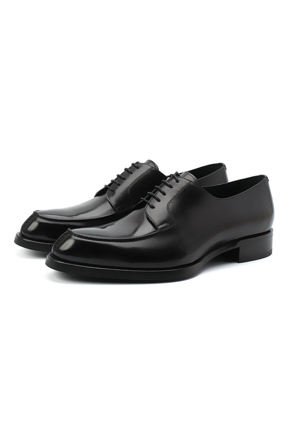 Мужские кожаные дерби BRIONI черного цвета, арт. QE1D0L/P6757   Фото 1