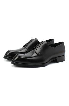 Мужской кожаные дерби BRIONI черного цвета, арт. QE1D0L/P6757 | Фото 1