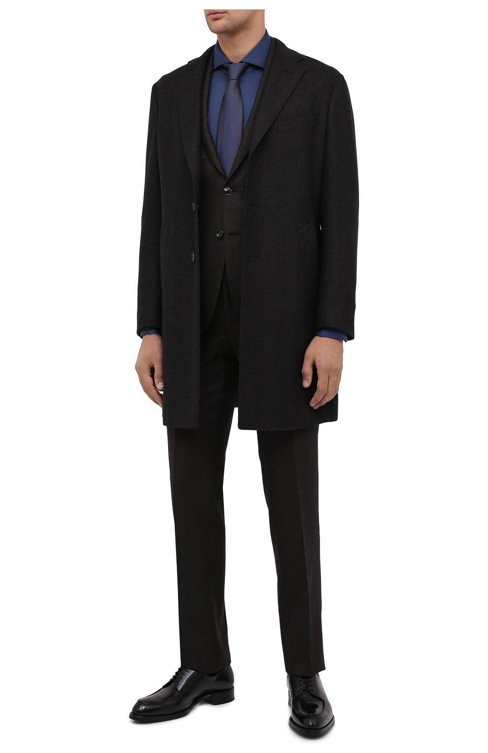 Мужские кожаные дерби BRIONI черного цвета, арт. QE1D0L/P6757   Фото 2