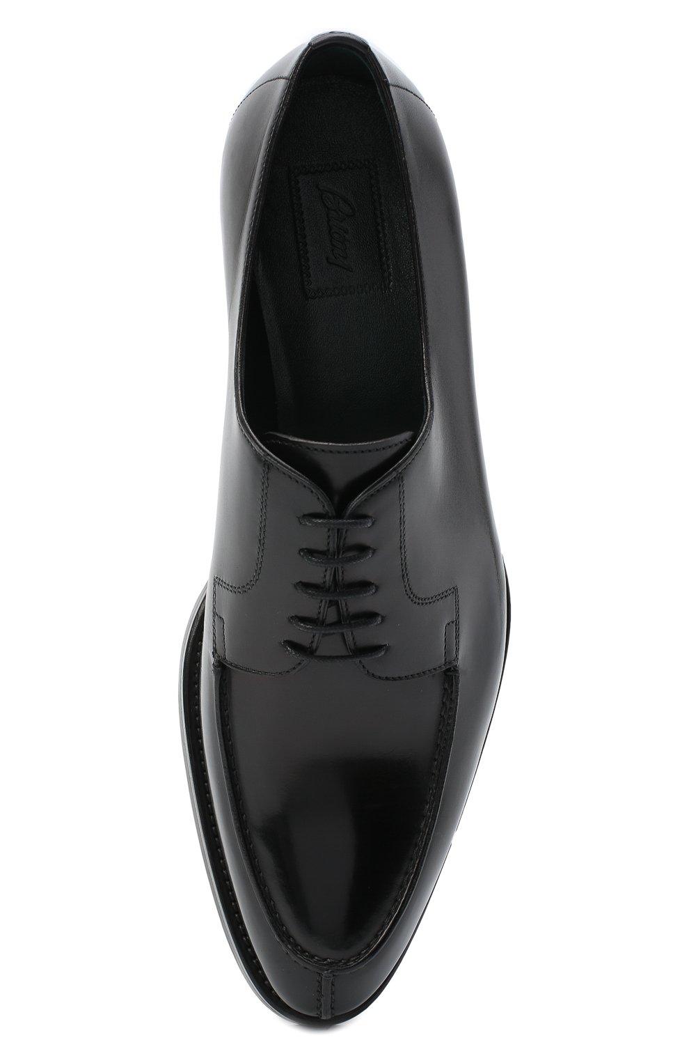 Мужские кожаные дерби BRIONI черного цвета, арт. QE1D0L/P6757   Фото 5