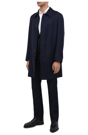 Мужской кожаные дерби BRIONI темно-синего цвета, арт. QE2A0L/P7731 | Фото 2