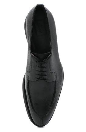 Мужские кожаные дерби BRIONI черного цвета, арт. QE2A0L/P7731   Фото 5