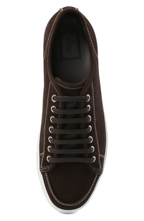 Мужские замшевые кеды BRIONI темно-коричневого цвета, арт. QHH40L/09708 | Фото 5