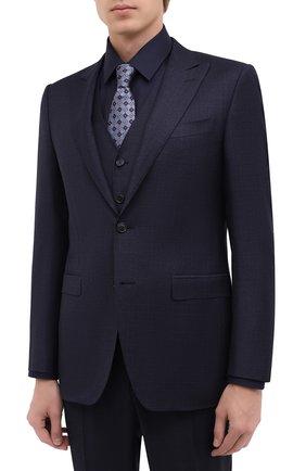 Мужской шерстяной костюм-тройка CANALI темно-синего цвета, арт. 19227/93/BF00279 | Фото 2