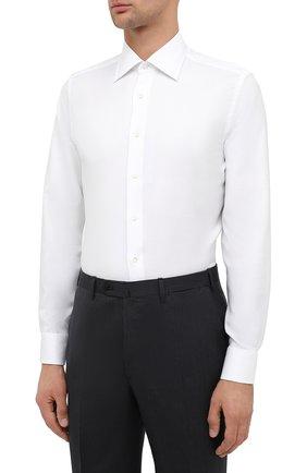 Мужская хлопковая сорочка CANALI белого цвета, арт. NX05/GR01926 | Фото 3