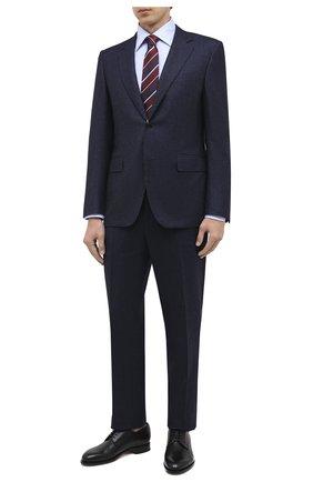 Мужская хлопковая сорочка CANALI голубого цвета, арт. 705/GA00327 | Фото 2 (Рукава: Длинные; Материал внешний: Хлопок; Длина (для топов): Стандартные; Случай: Формальный; Стили: Кэжуэл)