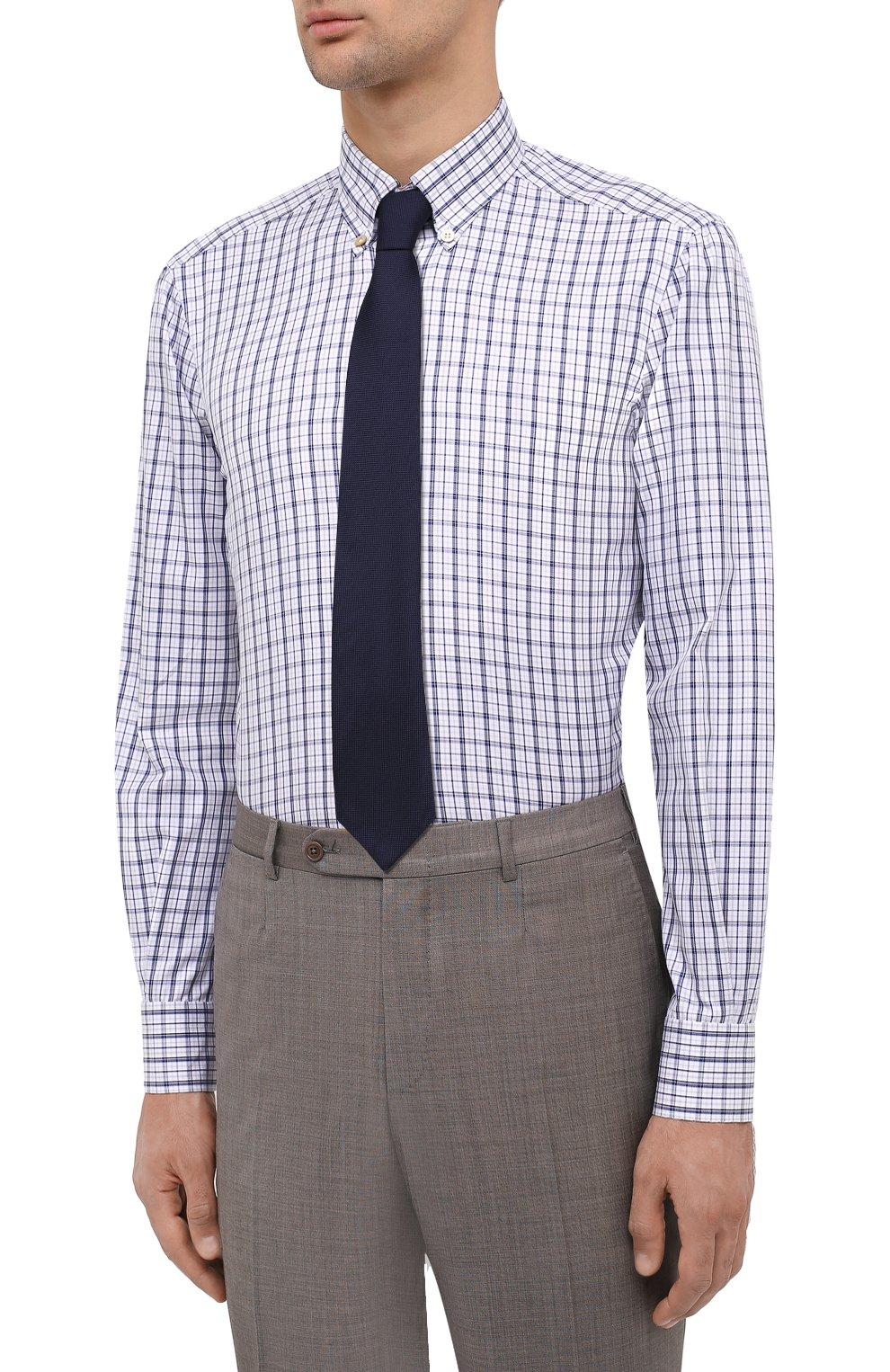 Мужская хлопковая сорочка KITON синего цвета, арт. UCIH0743522 | Фото 4