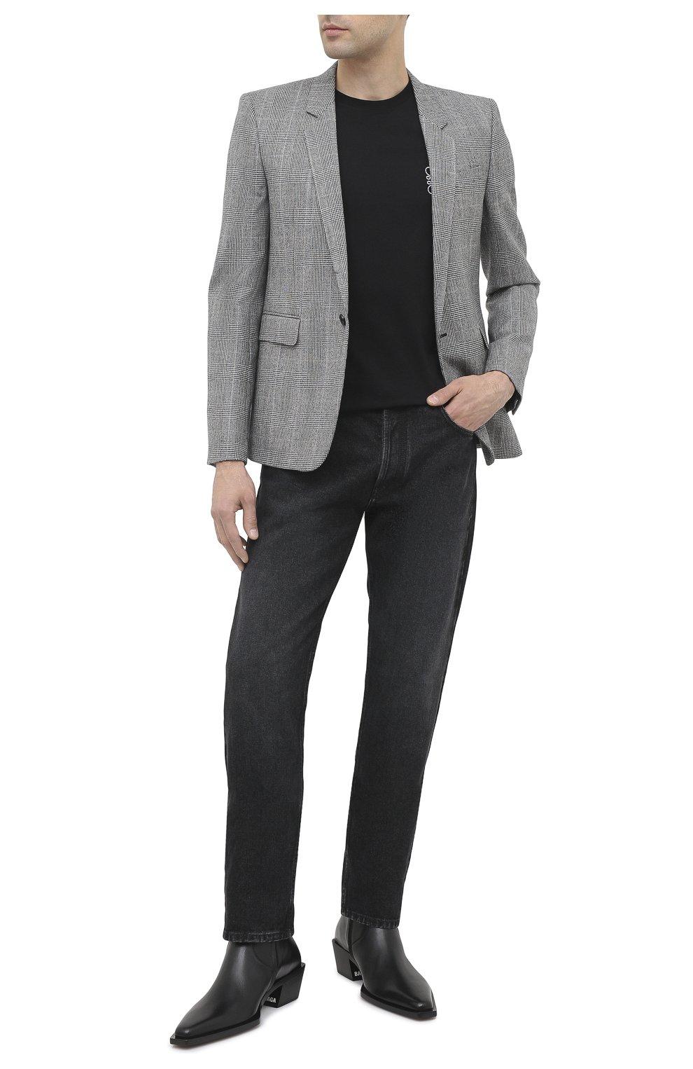 Мужской шерстяной пиджак SAINT LAURENT серого цвета, арт. 600331/Y1B54 | Фото 2