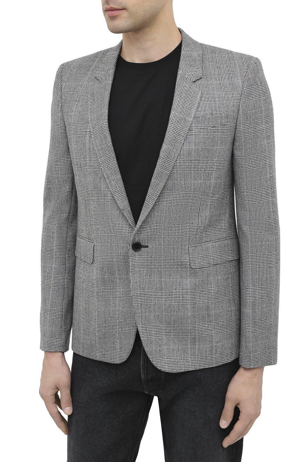 Мужской шерстяной пиджак SAINT LAURENT серого цвета, арт. 600331/Y1B54 | Фото 4