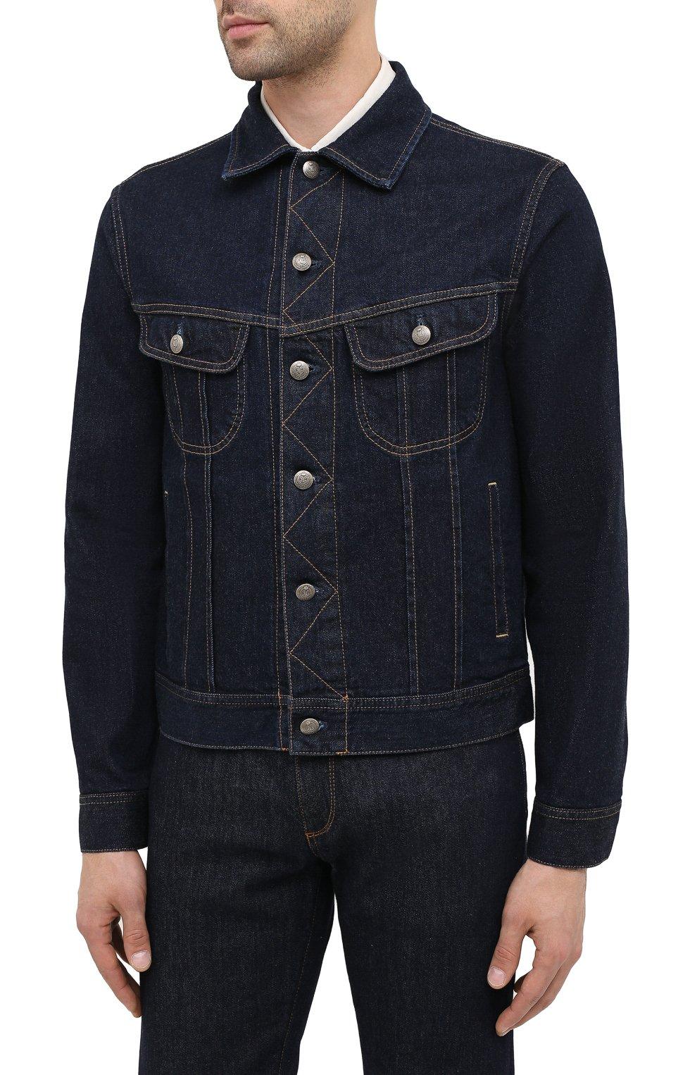 Мужская джинсовая куртка RALPH LAUREN темно-синего цвета, арт. 790799577 | Фото 4