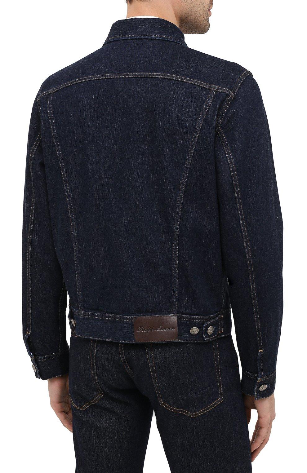 Мужская джинсовая куртка RALPH LAUREN темно-синего цвета, арт. 790799577 | Фото 5