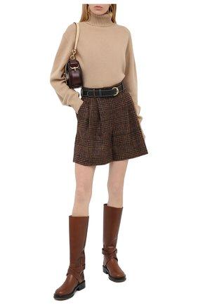 Женские шерстяные шорты DOLCE & GABBANA коричневого цвета, арт. FTBWMT/FQMH8 | Фото 2