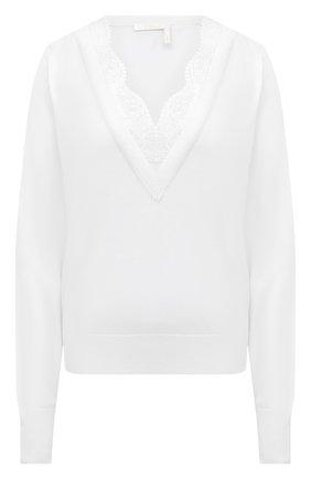 Женский пуловер из шерсти и шелка CHLOÉ белого цвета, арт. CHC20AMP98950   Фото 1