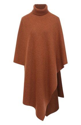 Женская кашемировое пончо CHLOÉ коричневого цвета, арт. CHC20AMM90500   Фото 1