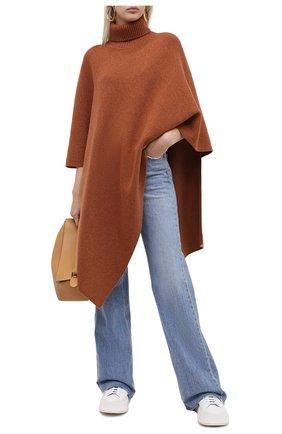 Женская кашемировое пончо CHLOÉ коричневого цвета, арт. CHC20AMM90500 | Фото 2