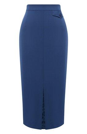 Женская шерстяная юбка ESCADA синего цвета, арт. 5033664 | Фото 1
