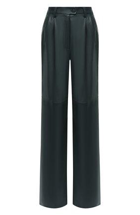 Женские кожаные брюки MASLOV зеленого цвета, арт. BR101 | Фото 1
