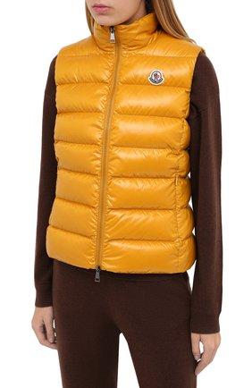 Женский пуховый жилет MONCLER желтого цвета, арт. F2-093-1A525-00-68950 | Фото 3