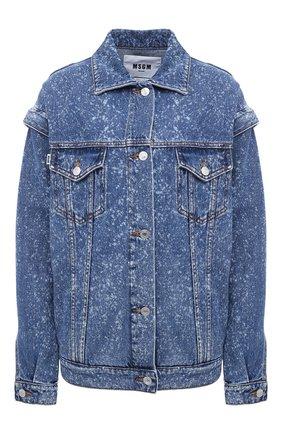 Женская джинсовая куртка MSGM голубого цвета, арт. 2941MDH46L 207728   Фото 1