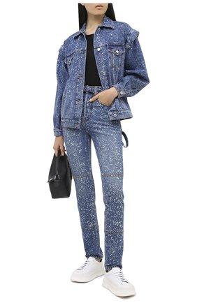 Женская джинсовая куртка MSGM голубого цвета, арт. 2941MDH46L 207728   Фото 2