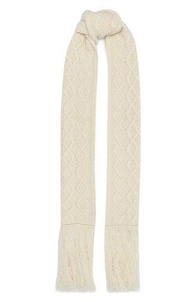 Женский шарф из шерсти и кашемира LOEWE белого цвета, арт. S359257X01 | Фото 1