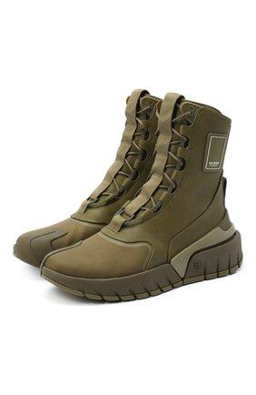 Мужские комбинированные ботинки b-army BALMAIN хаки цвета, арт. UM1C231/LSCV | Фото 1