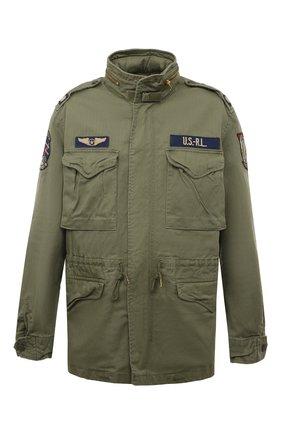Мужская хлопковая куртка POLO RALPH LAUREN хаки цвета, арт. 710722923 | Фото 1