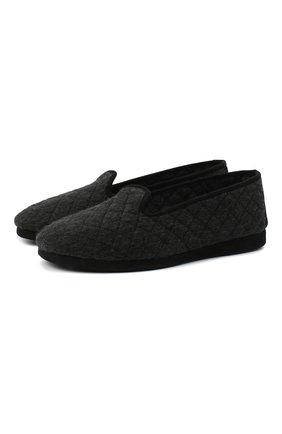 Мужского текстильные домашние туфли LORO PIANA темно-серого цвета, арт. FAA1774 | Фото 1 (Материал внутренний: Текстиль; Материал внешний: Текстиль; Мужское Кросс-КТ: Слиперы-обувь)