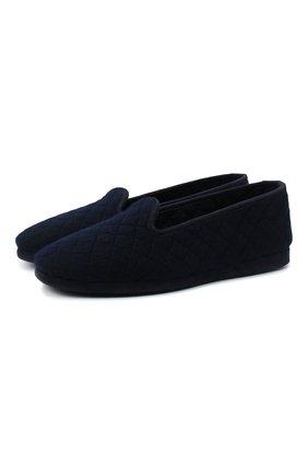 Мужского текстильные домашние туфли LORO PIANA темно-синего цвета, арт. FAA1774 | Фото 1
