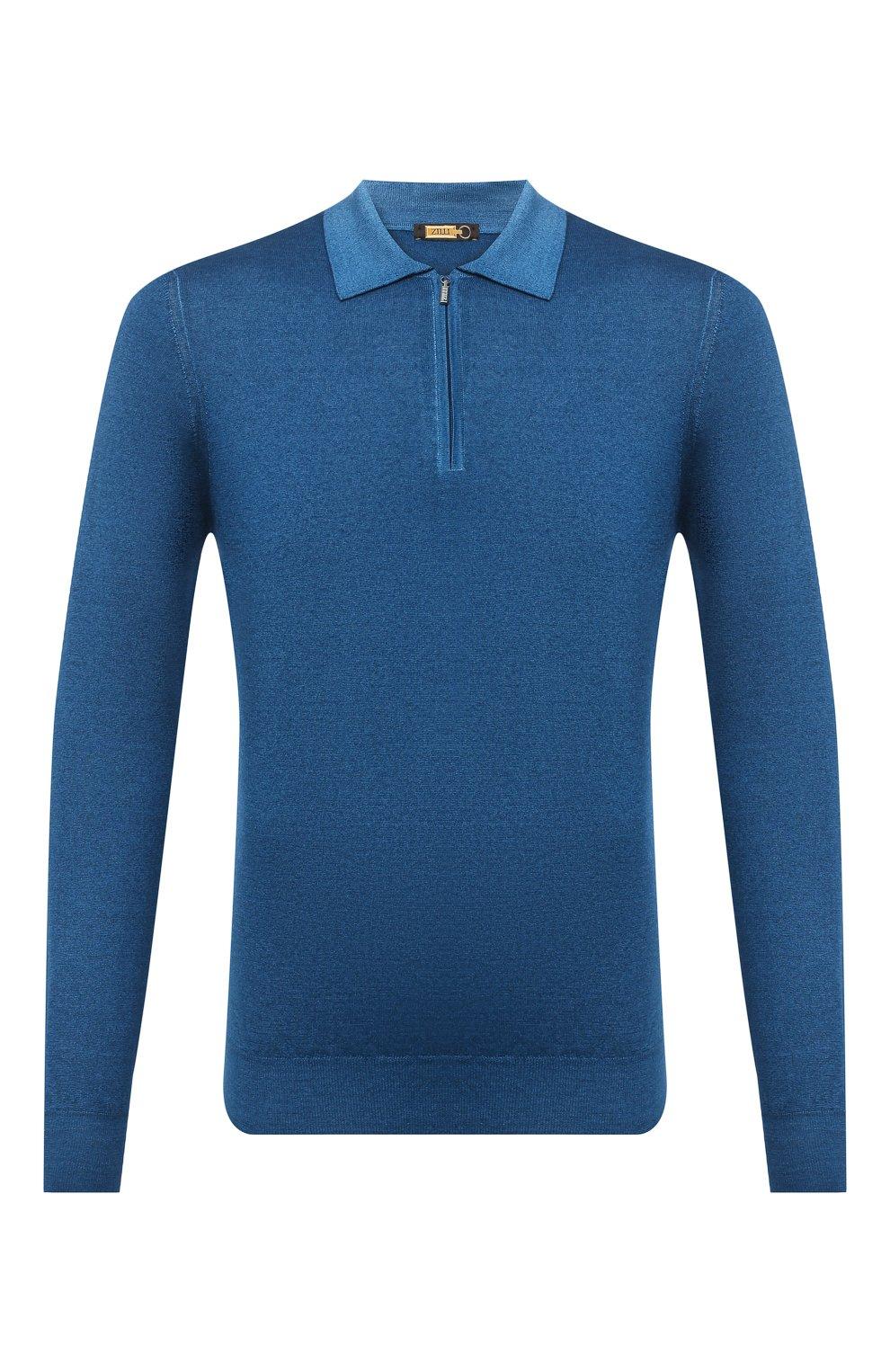 Мужское поло из кашемира и шелка ZILLI синего цвета, арт. MBU-PZ002-NUAG1/ML01 | Фото 1