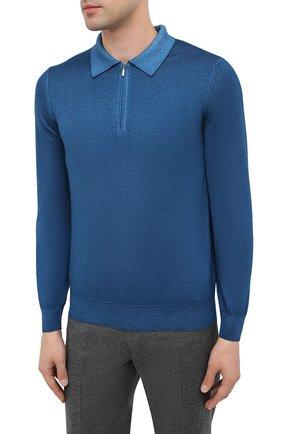 Мужское поло из кашемира и шелка ZILLI синего цвета, арт. MBU-PZ002-NUAG1/ML01 | Фото 4