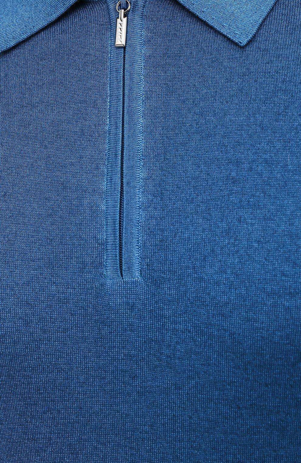Мужское поло из кашемира и шелка ZILLI синего цвета, арт. MBU-PZ002-NUAG1/ML01 | Фото 6