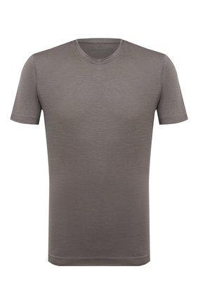 Мужская шерстяная футболка CAPOBIANCO хаки цвета, арт. 9M660.JE00. | Фото 1