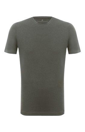 Мужская футболка из хлопка и кашемира CAPOBIANCO хаки цвета, арт. 9M660.WS00. | Фото 1