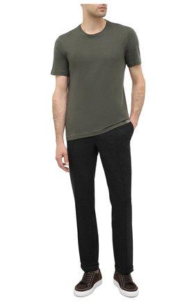 Мужская футболка из хлопка и кашемира CAPOBIANCO хаки цвета, арт. 9M660.WS00. | Фото 2