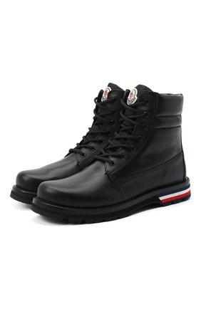 Мужские кожаные ботинки vancouver MONCLER черного цвета, арт. F2-09A-4F700-00-02S71 | Фото 1 (Материал внутренний: Натуральная кожа; Подошва: Плоская; Мужское Кросс-КТ: Ботинки-обувь)