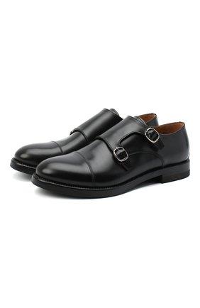 Мужские кожаные монки W.GIBBS черного цвета, арт. 0220004/2302 | Фото 1