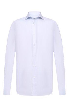 Мужская хлопковая сорочка CANALI голубого цвета, арт. NX58/GR01598/P | Фото 1 (Длина (для топов): Стандартные; Рукава: Длинные; Материал внешний: Хлопок; Случай: Формальный; Стили: Классический)