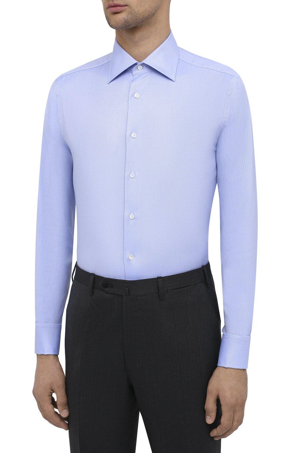 Мужская хлопковая сорочка CANALI голубого цвета, арт. N705/GR01926/P | Фото 3