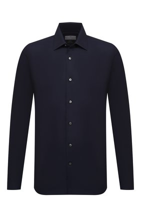 Мужская сорочка из хлопка и кашемира CANALI темно-синего цвета, арт. 7714/GX01931   Фото 1