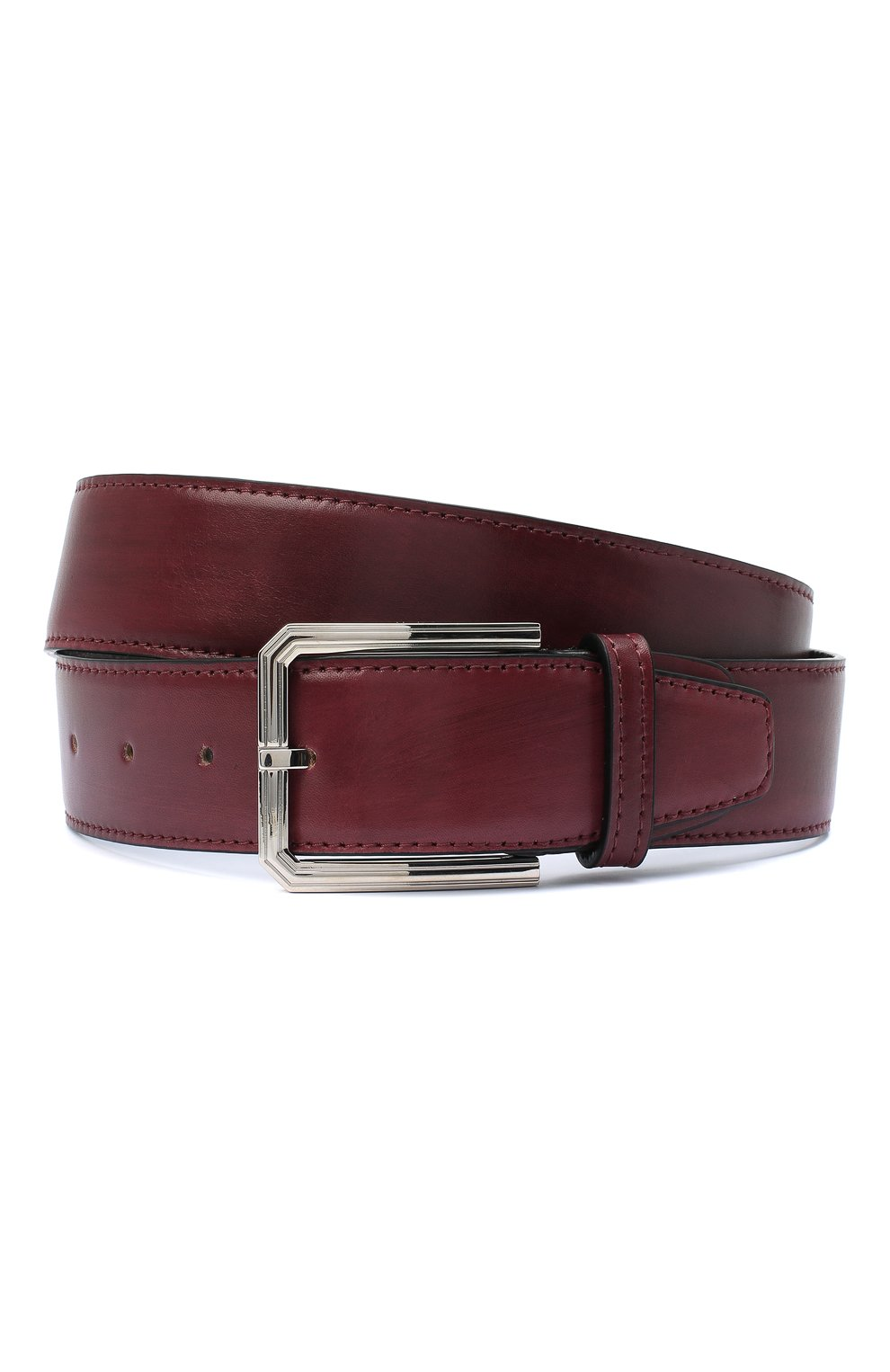 Мужской кожаный ремень KITON бордового цвета, арт. USC23PN00100 | Фото 1