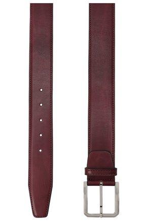 Мужской кожаный ремень KITON бордового цвета, арт. USC23PN00100 | Фото 2