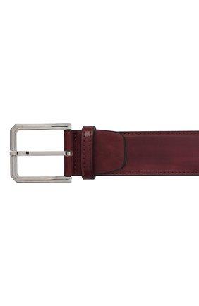 Мужской кожаный ремень KITON бордового цвета, арт. USC23PN00100 | Фото 3