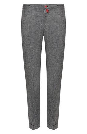 Мужские шерстяные брюки KITON серого цвета, арт. UFPLACK01T52   Фото 1