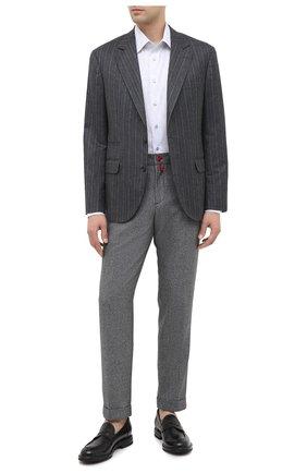 Мужские шерстяные брюки KITON серого цвета, арт. UFPLACK01T52   Фото 2