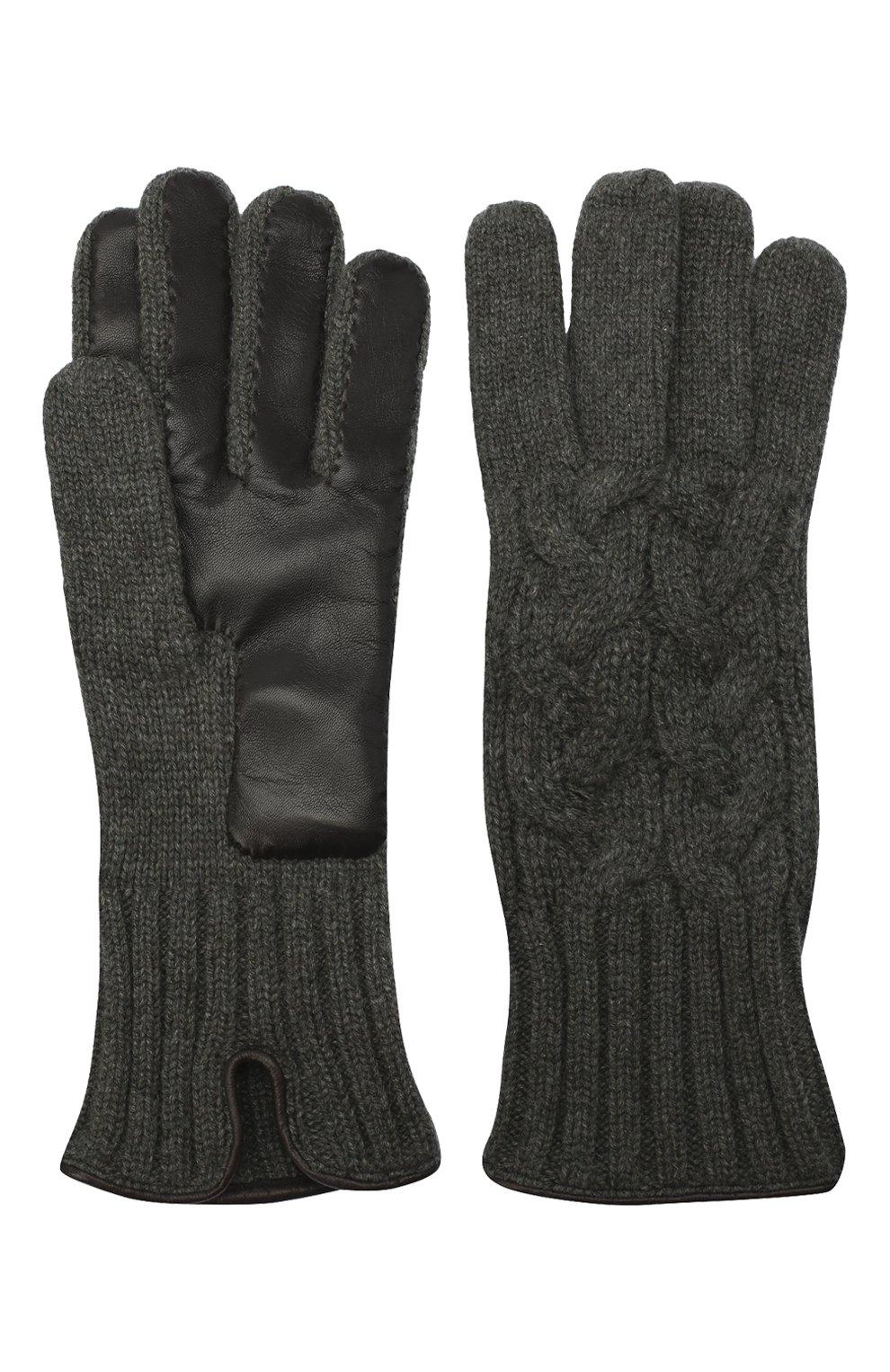 Мужские кашемировые перчатки KITON серого цвета, арт. UGU115X03T25   Фото 2