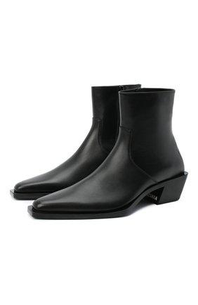 Мужские кожаные казаки BALENCIAGA черного цвета, арт. 624427/WA72D | Фото 1