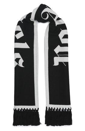 Мужской шарф из шерсти и хлопка PALM ANGELS черно-белого цвета, арт. PMMA011E20KNI0011001 | Фото 1